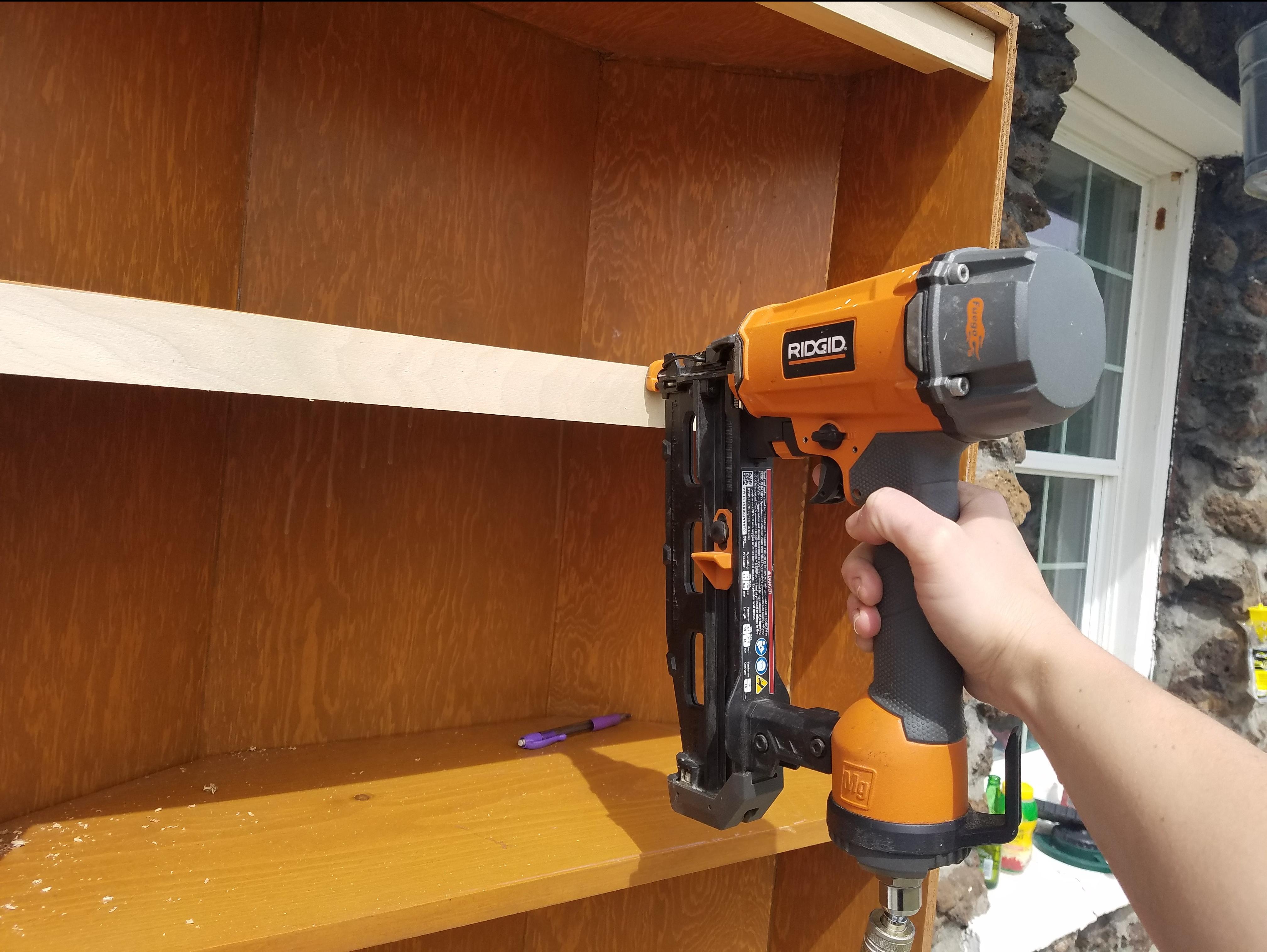 Adding trim to built ins, Ridgid Nail Gun